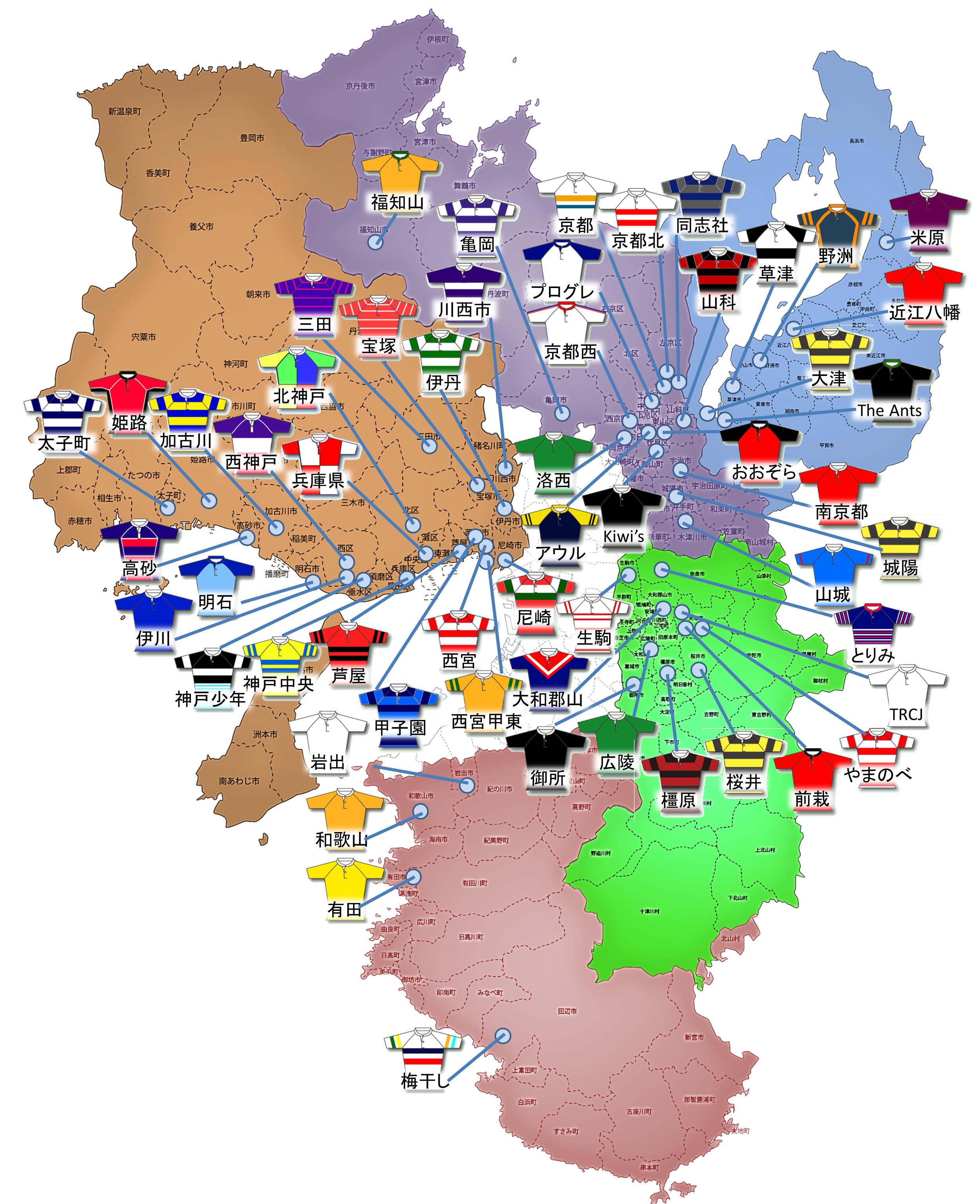 関西ラグビースクールマップ